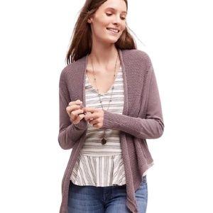 Anthropologie Moth Pointelle Wrap Sweater Linen S